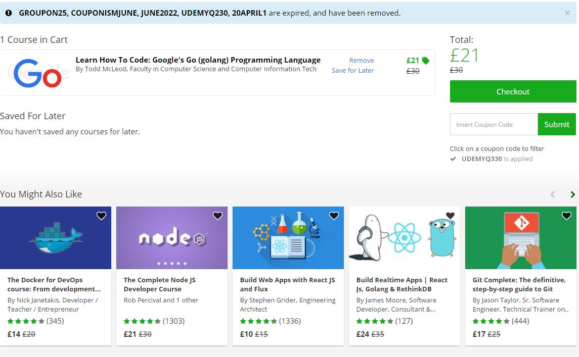Today's top Udemy coupon: All Courses for $ Each. See 40 Udemy coupon and code for December