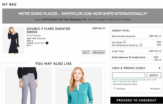 Ann Taylor Coupons checkout